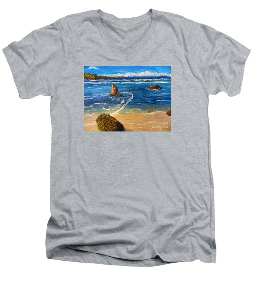 Men's V-Neck T-Shirt featuring the painting Kiama Beach by Pamela  Meredith
