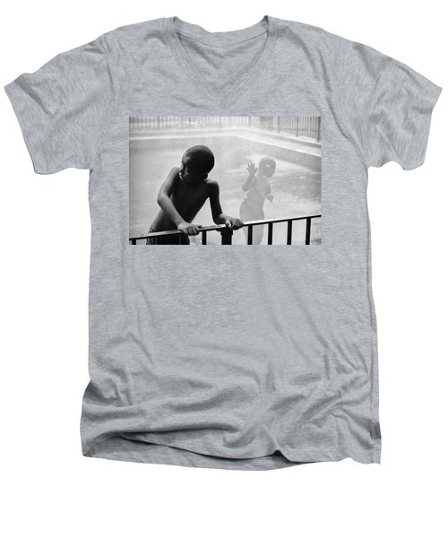 Kid In Sprinkler Men's V-Neck T-Shirt