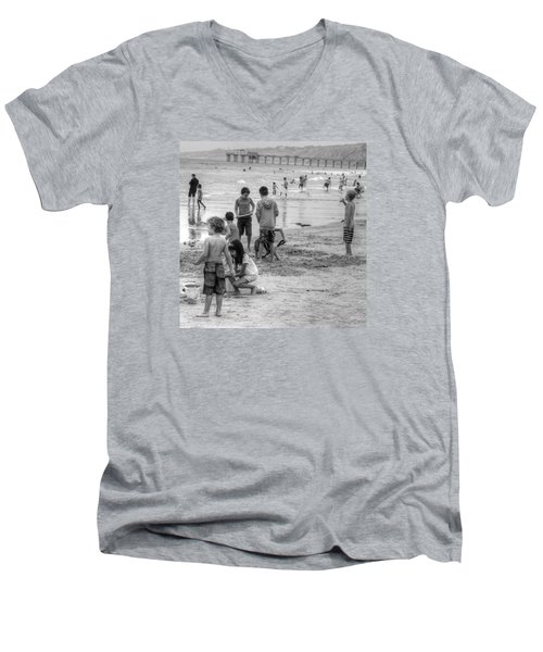 Kids At Beach Men's V-Neck T-Shirt