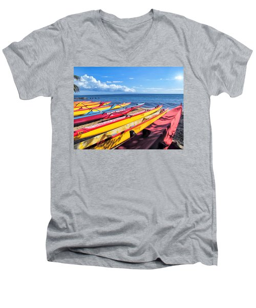 Men's V-Neck T-Shirt featuring the photograph Kihei Canoe Club 6 by Dawn Eshelman