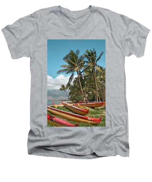 Men's V-Neck T-Shirt featuring the photograph Sugar Beach Kihei Maui Hawaii by Sharon Mau
