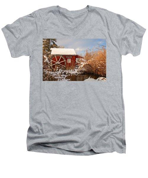 Kimberton Mill After Snow Men's V-Neck T-Shirt by Michael Porchik
