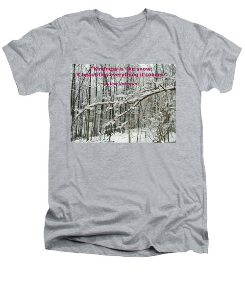 Men's V-Neck T-Shirt featuring the photograph Kindness Is Like Snow by Emmy Marie Vickers