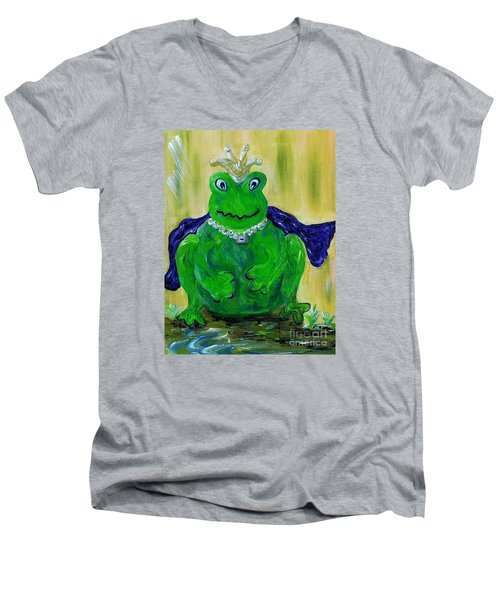 Men's V-Neck T-Shirt featuring the painting King For A Day by Eloise Schneider