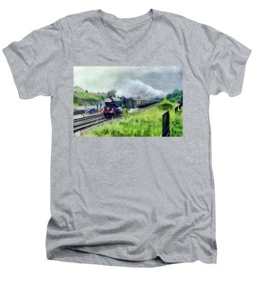 'king George V' Locomotive Men's V-Neck T-Shirt
