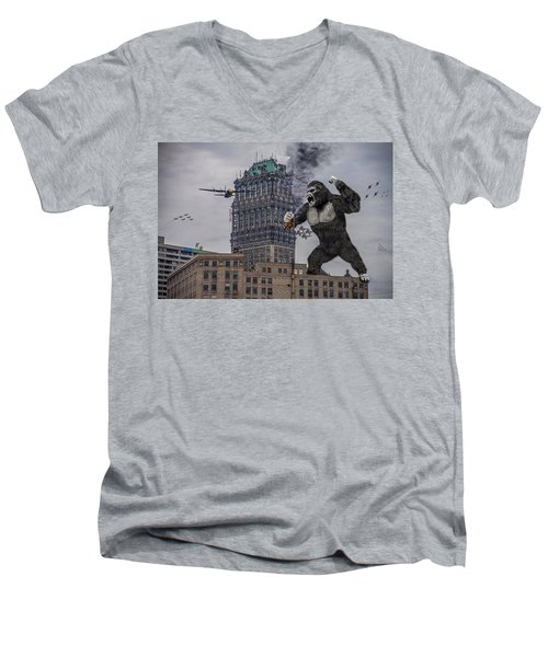Men's V-Neck T-Shirt featuring the photograph King Kong In Detroit At Wurlitzer by Nicholas  Grunas