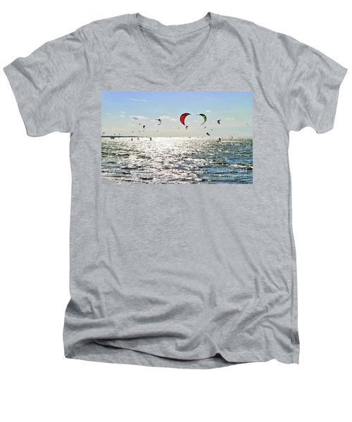 Kitesurfing In The Sun Men's V-Neck T-Shirt by Maja Sokolowska