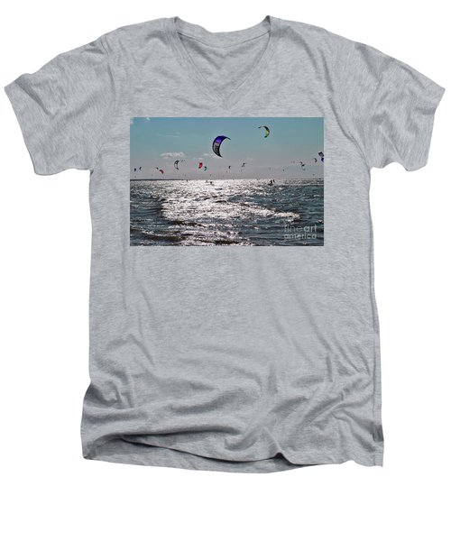 Kitesurfing Men's V-Neck T-Shirt by Maja Sokolowska