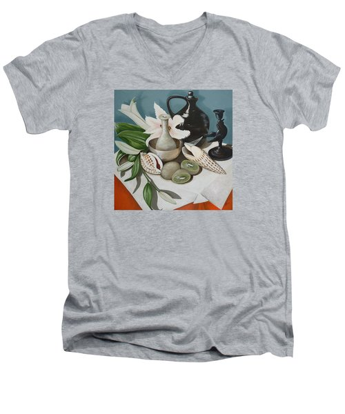 Men's V-Neck T-Shirt featuring the painting Kiwifruit by Helen Syron