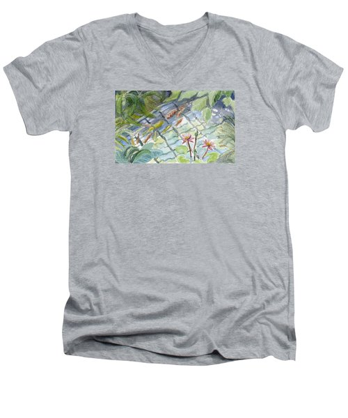 Koi Carp And Waterlilies. Men's V-Neck T-Shirt