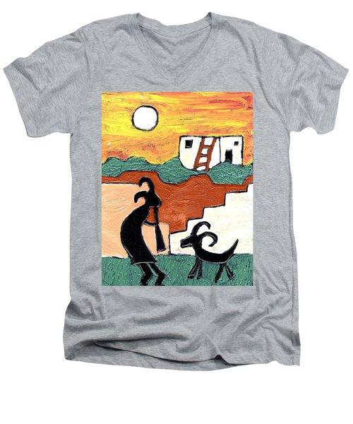 kokopeli at the Pueblo Men's V-Neck T-Shirt