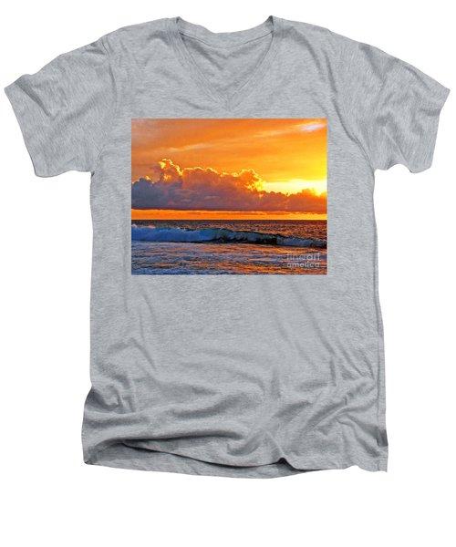 Men's V-Neck T-Shirt featuring the photograph Kona Golden Sunset by David Lawson