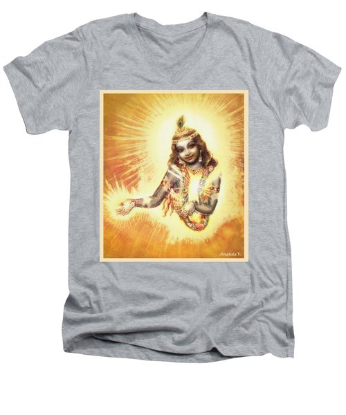 Krishna Vision In The Clouds Men's V-Neck T-Shirt by Ananda Vdovic