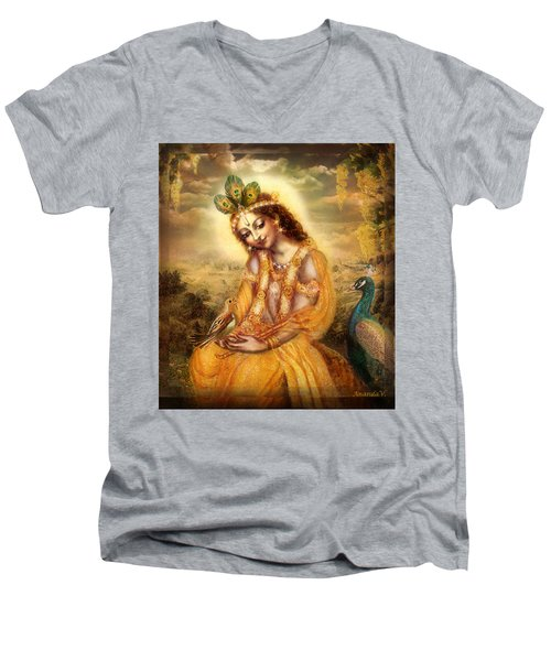 Krishna With The Peacock Detail Men's V-Neck T-Shirt by Ananda Vdovic