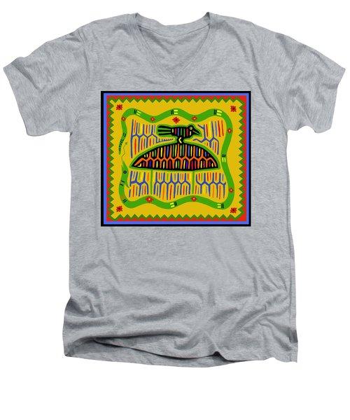 Men's V-Neck T-Shirt featuring the digital art Kuna Bird With Snake by Vagabond Folk Art - Virginia Vivier