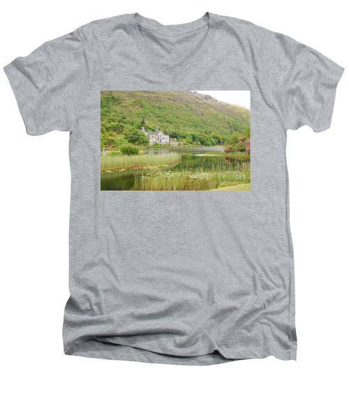 Men's V-Neck T-Shirt featuring the photograph Kylemore Abbey 1 by Mary Carol Story