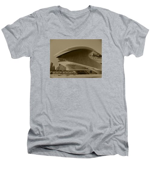 Men's V-Neck T-Shirt featuring the photograph L' Hemisferic - Valencia by Juergen Weiss