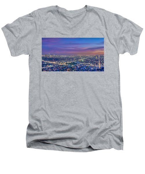 La Fiery Sunset Cityscape Skyline Men's V-Neck T-Shirt