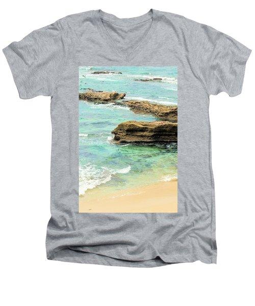 La Jolla Beach Rocks Men's V-Neck T-Shirt