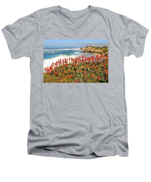 La Jolla Coast With Flowers Blooming Men's V-Neck T-Shirt