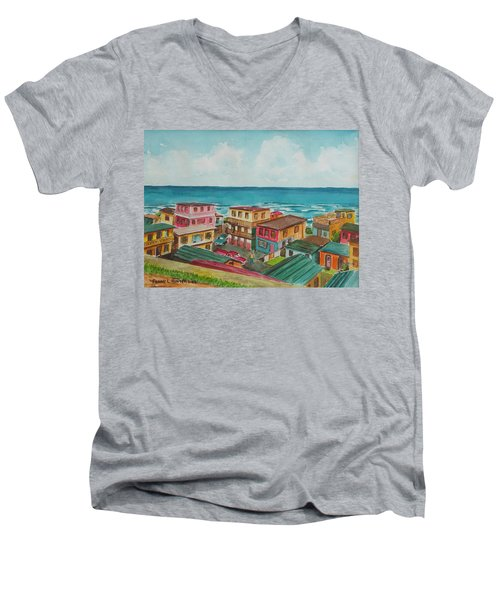 La Perla San Juan Pr Men's V-Neck T-Shirt by Frank Hunter