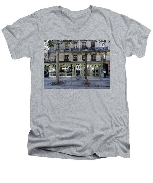 Laduree On The Champs De Elysees In Paris France  Men's V-Neck T-Shirt