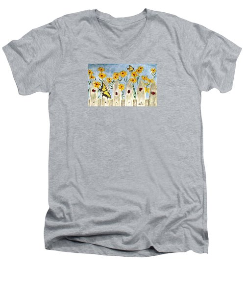 Men's V-Neck T-Shirt featuring the painting Ladies In The Garden by Angela Davies