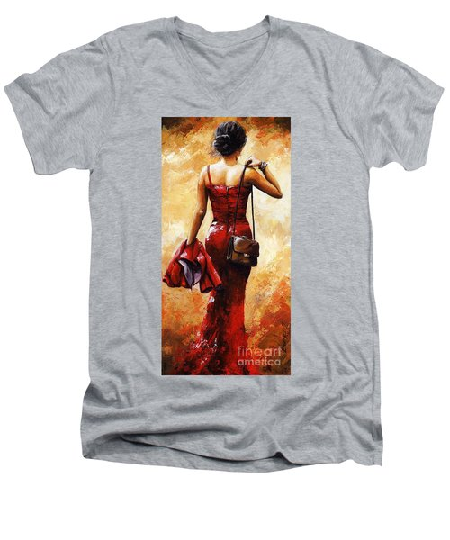 Lady In Red #25 Men's V-Neck T-Shirt by Emerico Imre Toth