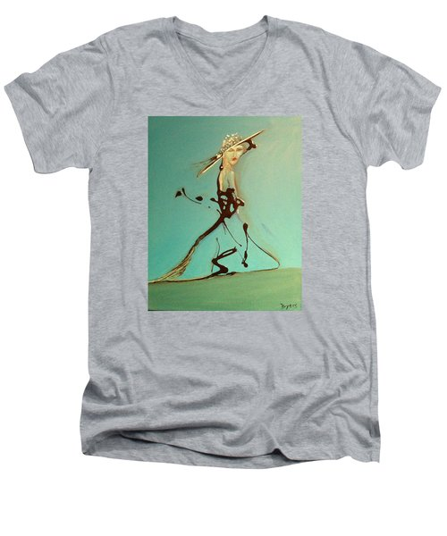 Lady In The Hat Men's V-Neck T-Shirt by Kicking Bear  Productions