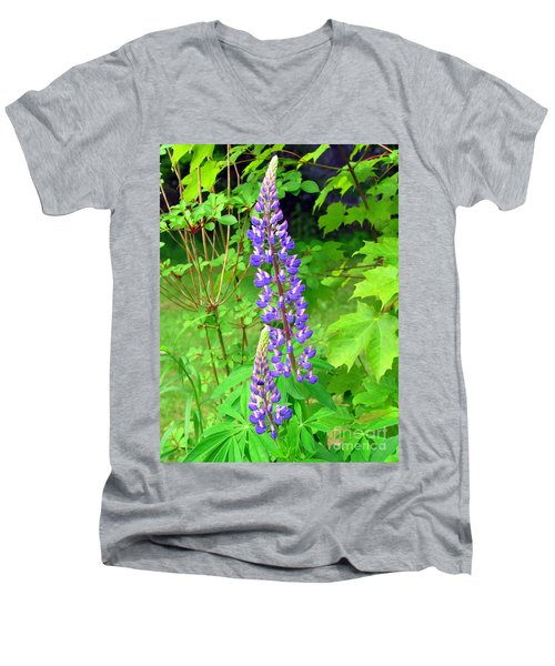 Lady Lupine Men's V-Neck T-Shirt by Elizabeth Dow