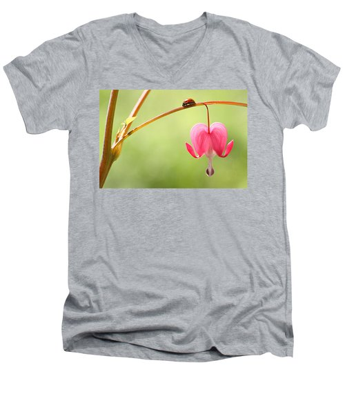 Ladybug And Bleeding Heart Flower Men's V-Neck T-Shirt by Peggy Collins