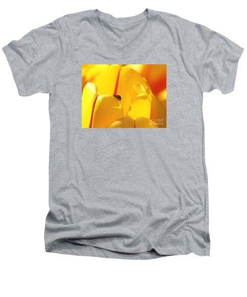 Men's V-Neck T-Shirt featuring the photograph Ladybug - The Journey by Susan  Dimitrakopoulos