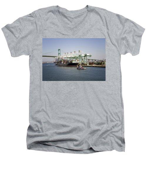 Lafd Fire Boat 2 San Pedro Ca 03 Men's V-Neck T-Shirt