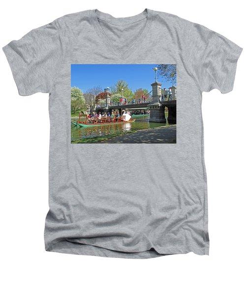 Lagoon Bridge And Swan Boat Men's V-Neck T-Shirt