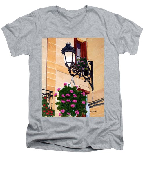 Laguardia Street Lamp  Men's V-Neck T-Shirt by Mike Robles