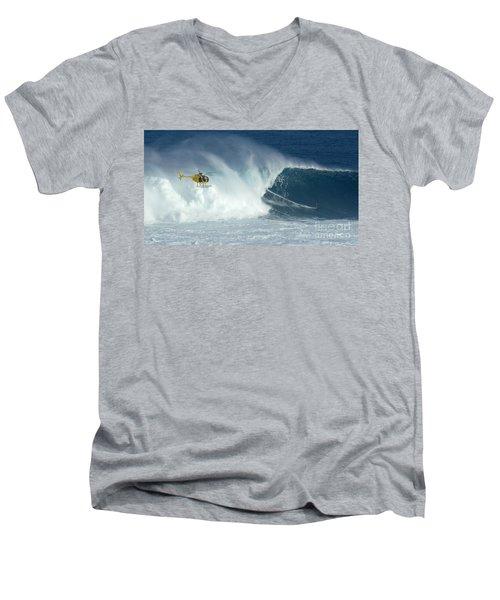Laird Hamilton Going Left At Jaws Men's V-Neck T-Shirt