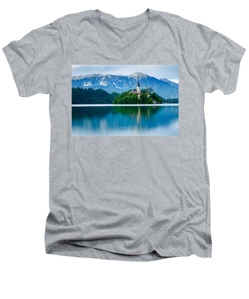 Lake Bled Island Church Men's V-Neck T-Shirt