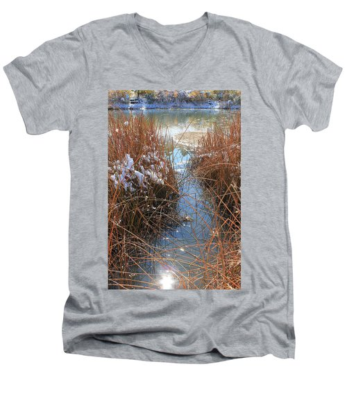 Men's V-Neck T-Shirt featuring the photograph Lake Glitter by Diane Alexander
