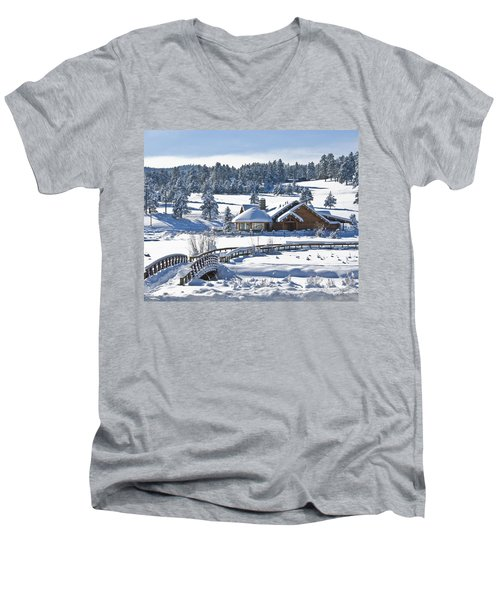 Lake House In Snow Men's V-Neck T-Shirt