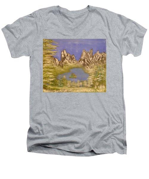 Lake In Glacier Men's V-Neck T-Shirt