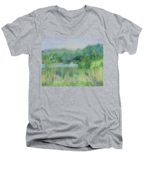 Lake Isaac Impressions Men's V-Neck T-Shirt by Lee Beuther