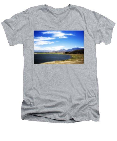 Lake Isabella Men's V-Neck T-Shirt by Hugh Smith