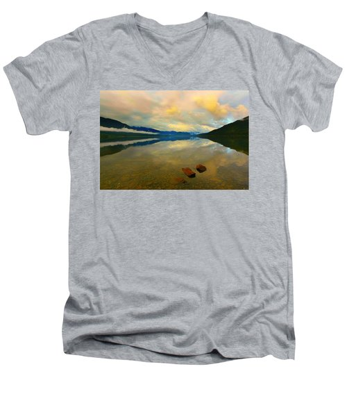 Men's V-Neck T-Shirt featuring the photograph Lake Kaniere New Zealand by Amanda Stadther
