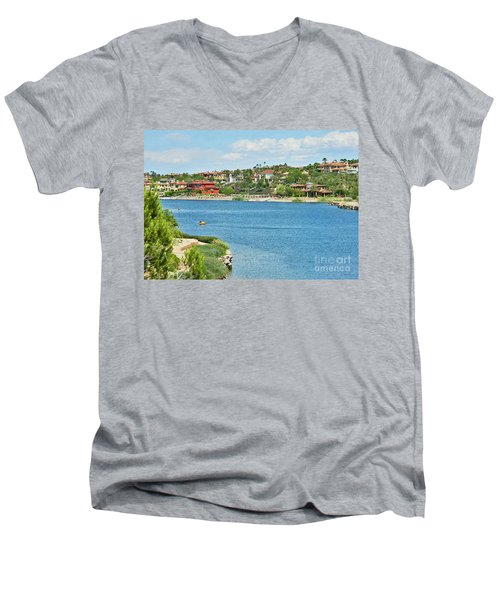 Men's V-Neck T-Shirt featuring the photograph Lake Las Vegas In May by Emmy Marie Vickers