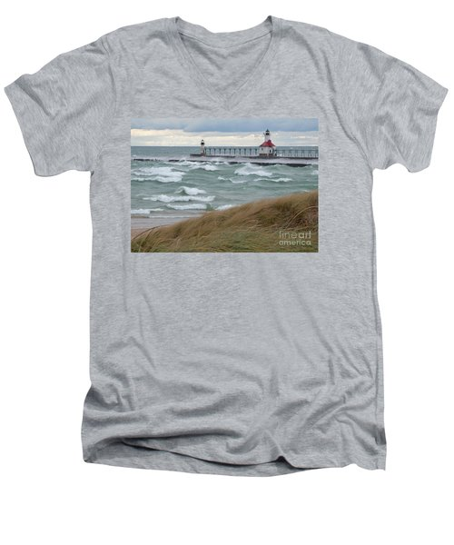 Lake Michigan Winds Men's V-Neck T-Shirt by Ann Horn