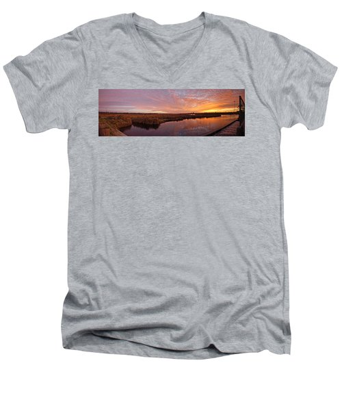 Men's V-Neck T-Shirt featuring the digital art Lake Shelby Bridge by Michael Thomas