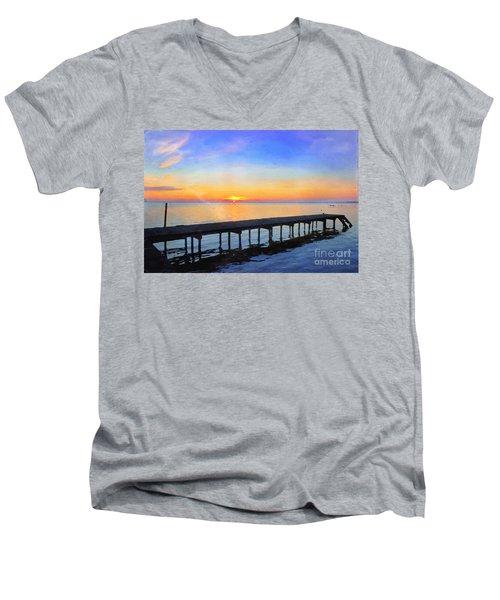 Lake Sunrise - Watercolor Men's V-Neck T-Shirt