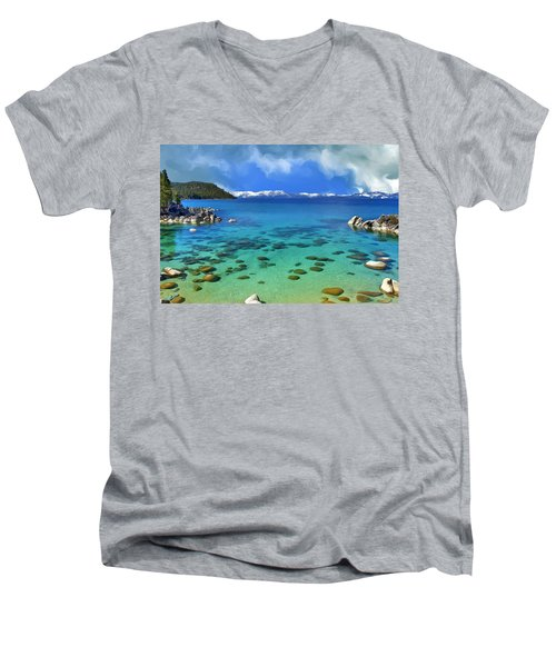 Lake Tahoe Cove Men's V-Neck T-Shirt by Dominic Piperata
