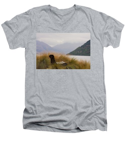 Men's V-Neck T-Shirt featuring the photograph Lake Wakatipu Bench by Stuart Litoff