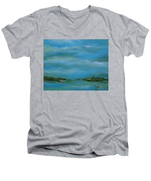 Lake Wallenpaupack Early Morning Men's V-Neck T-Shirt by Judith Rhue